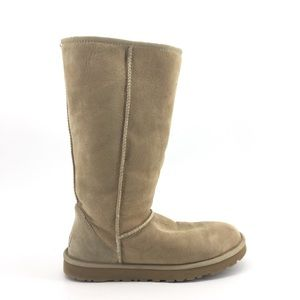 Ugg Classic Tall Boots 9 Suede Sherpa Brown